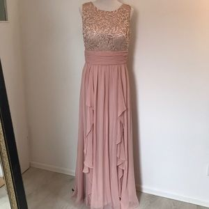 NWOT Eliza J ruffle blush gown